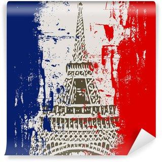 Vinylová Fototapeta Francouzská vlajka s výhledem na Eiffelovu věž ilustrace