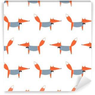 Vinylová Fototapeta Francouzský styl liška bezešvé vzor. Roztomilé kreslené Foxy vektorové ilustrace. Dítě styl kreslení živočišných pozadí. Módní design pro tkaniny, textilie.