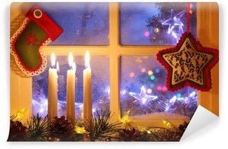 Vinylová Fototapeta Frosted okno s vánoční výzdobou