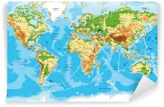 Vinylová Fototapeta Fyzická mapa světa
