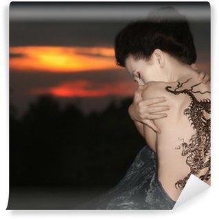 Vinylová Fototapeta Geisha s drakem tetování