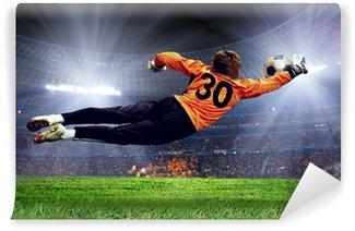Fototapeta Winylowa Goalman piłki nożnej na polu stadionu