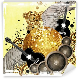 Vinylová Fototapeta Gold disco koule na žlutém pozadí