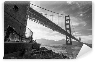 Vinylová Fototapeta Golden Gate Bridge černá a bílá