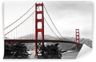 Vinylová Fototapeta Golden Gate Bridge, červená pop na černé a bílé pozadí