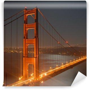 Vinylová Fototapeta Golden Gate v noci z Marin Headlands