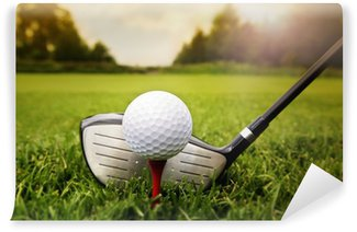 Vinylová Fototapeta Golf club a míček v trávě