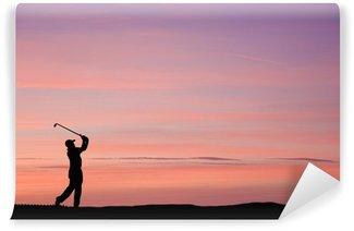Vinylová Fototapeta Golfista silueta proti ohromující západu slunce nebe