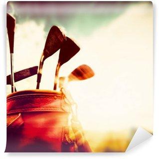 Vinylová Fototapeta Golfové hole v kožené zavazadla vintage, retro stylu