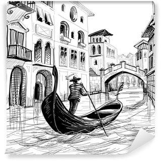 Vinylová Fototapeta Gondola v Benátkách skica vektoru