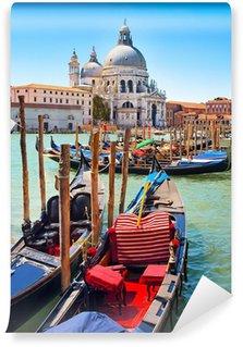 Vinylová Fototapeta Gondoly s Santa Maria della Salute v Benátkách, Itálie