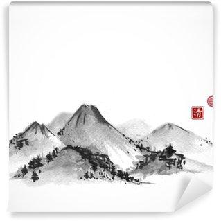 Fototapeta Vinylowa Góry ręcznie rysowane tuszem na białym tle. Zawiera hieroglify - zen, wolność, natura, jasność, wielkie błogosławieństwo. Tradycyjne orientalne malarstwo tuszem sumi-e, U-sin, go-hua.