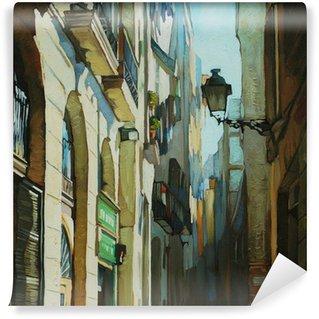 Vinylová Fototapeta Gotická čtvrť v Barceloně, malování olejem na plátně, illust