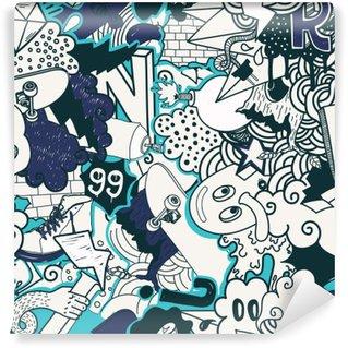 Vinylová Fototapeta Graffiti barevné bezešvé vzor