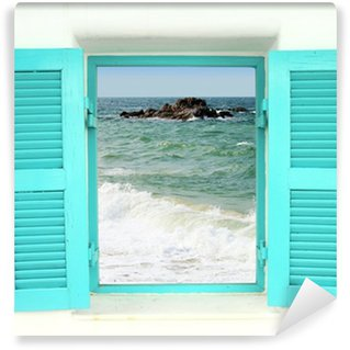 Fototapeta Winylowa Grecki styl okna z widokiem na morze