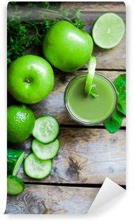 Vinylová Fototapeta Green smoothie s jablky, petržel, špenát, okurky, vápna a min