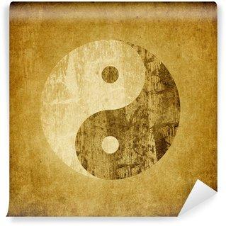 Vinylová Fototapeta Grunge jin jang symbol na pozadí.