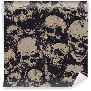 Vinylová Fototapeta Grunge lebky bezešvé