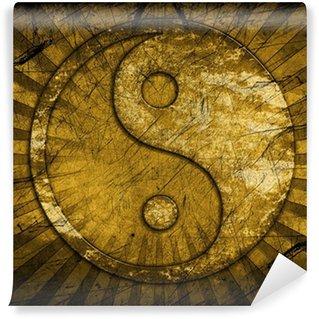 Vinylová Fototapeta Grunge yin yang symbol