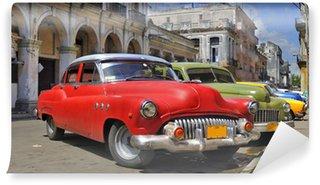 Fototapeta Vinylowa Havana ulica z kolorowych starych samochodów w raw