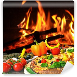 Vinylová Fototapeta Heiße Pizza: gebacken v Holzkohle-Ofen