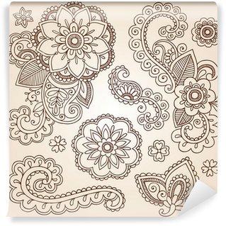 Vinylová Fototapeta Henna Paisley Mandala Tattoo Doodle prvky vector design Set