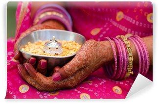 Vinylová Fototapeta Henna, sárí, svatební, nevěsta, Rajasthan, Indie