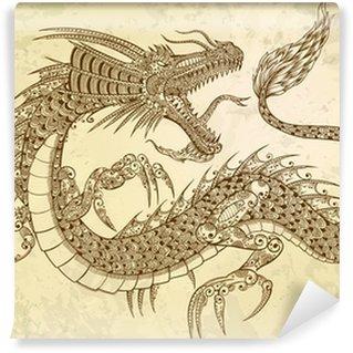 Vinylová Fototapeta Henna Tattoo Dragon Doodle Vector