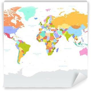 Vinylová Fototapeta Hi Detail barevné Vector Politické Mapa světa ilustrace