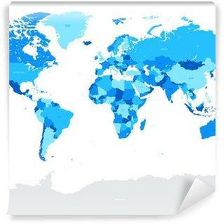 Vinylová Fototapeta Hi Detail Modrá Vector Politické Mapa světa ilustrace