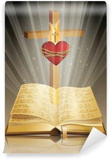 Vinylová Fototapeta Holy bible s křížem a posvátné srdce