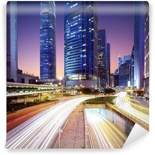 Vinylová Fototapeta Hong Kong bussines centrum a východ slunce
