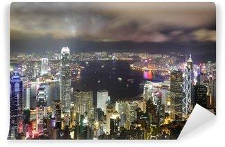 Vinylová Fototapeta Hong Kong noční pohled