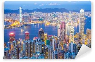 Vinylová Fototapeta Hong Kong panorama za soumraku