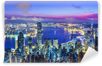 Vinylová Fototapeta Hong Kong panoramatu města při východu slunce