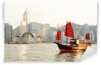 Vinylová Fototapeta Hong Kong přístav s turistickým nevyžádanou