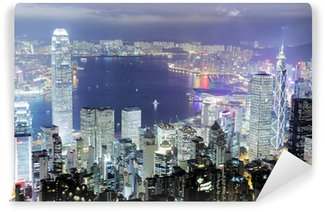 Vinylová Fototapeta Hong Kong Skyline v noci