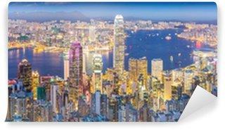 Vinylová Fototapeta Hong Kong Skyline za soumraku Panorama