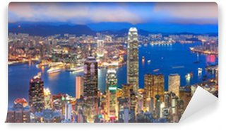 Vinylová Fototapeta Hong kong sunset panorama
