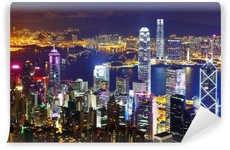 Vinylová Fototapeta Hong Kong v noci