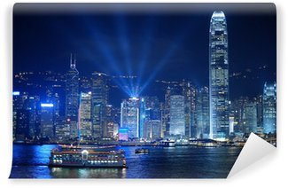 Vinylová Fototapeta Hongkong v noci a lightshow