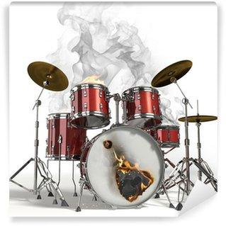 Vinylová Fototapeta Hořící bicí