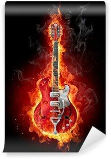 Vinylová Fototapeta Hořící kytaru