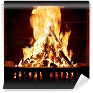Vinylová Fototapeta Hořící oheň v krbu
