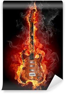Vinylová Fototapeta Hořící rockové kytary