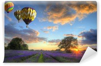 Vinylová Fototapeta Horkovzdušné balóny létající nad levandule krajiny západu slunce