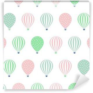 Vinylová Fototapeta Horkovzdušný balón bezešvé vzor. Miminko vektorové ilustrace na bílém pozadí. Puntíky a pruhy. Pastelové barvy horkovzdušné balóny design.
