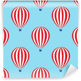 Vinylová Fototapeta Horkovzdušný balón bezešvé vzor. Miminko vektorové ilustrace na modrém pozadí oblohy. Barevné provedení hot balóny.