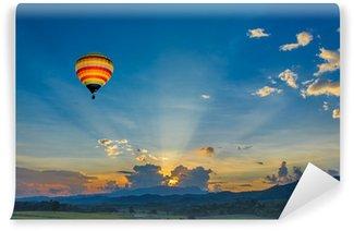 Vinylová Fototapeta Horkovzdušný balón přes pole při západu slunce