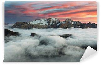 Vinylová Fototapeta Horské Marmolada při západu slunce v Itálii dolomity v zimě